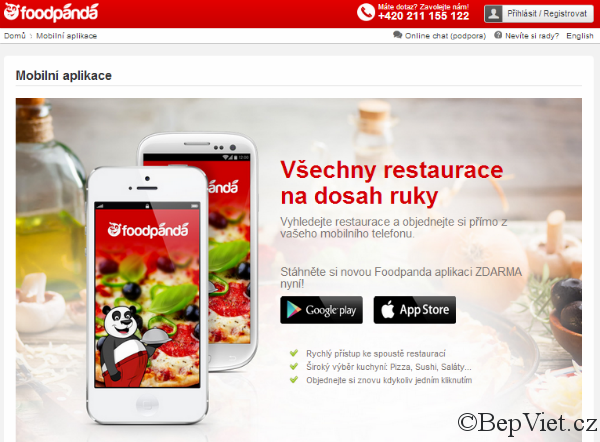 Food Panda mobilní aplikace